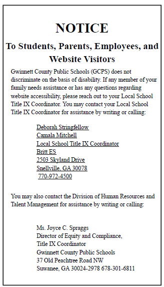 Gwinnett County Public Schools wishes to meet the needs of all its students  and families. If any member of your family needs assistance or has any  questions ...