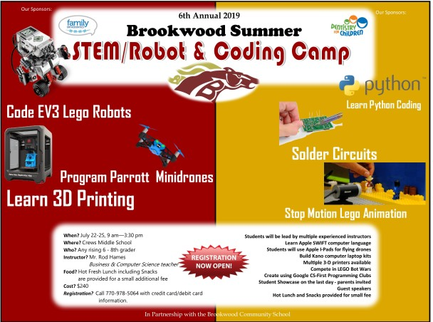 6th Annual Brookwood Cluster Robotics, Coding and STEM Camp