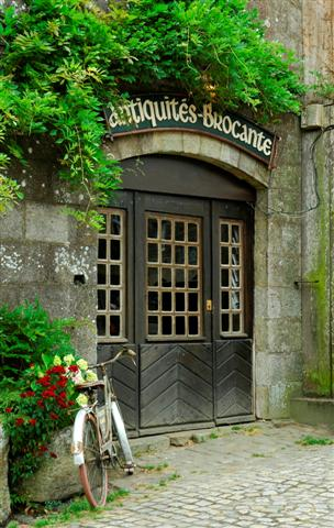 Unique doors on a building in France.